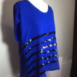 a.n.a.  Blue with Black Sequin Stripes Blouse XL